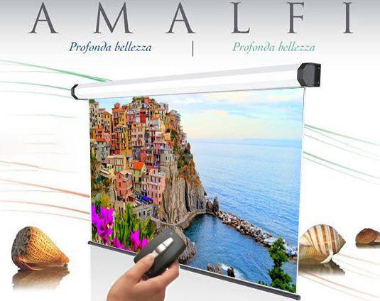 250x140 cm formato 16:9 schermo a motore Amalfi radiocomando integrato (269,5 cm)